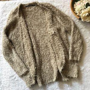 Kensie Brown Fuzzy Open Cardigan